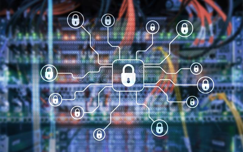 Cybersäkerhet, dataskydd, informationsavskildhet Internet- och teknologibegrepp fotografering för bildbyråer