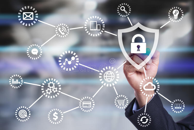 Cybersäkerhet, dataskydd, informationssäkerhet Internetteknologibegrepp royaltyfria foton