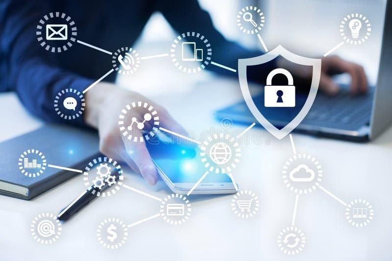 Cybersäkerhet, dataskydd internetteknologi och affärsidé arkivbild