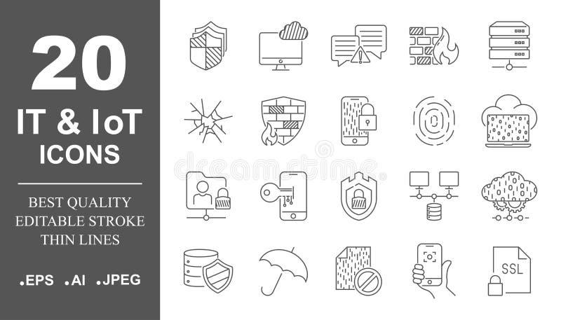 Cybersäkerhet, digital teknologi, DET, IoT, smart skydd, nätverk Inst?llda enkla symboler Redigerbar slagl?ngd vektor illustrationer