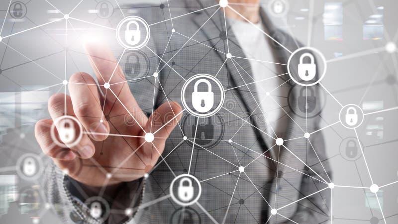 Cybersäkerhet, informationsavskildhet, begrepp för dataskydd på modern serverrumbakgrund Internet och digitalt arkivfoto