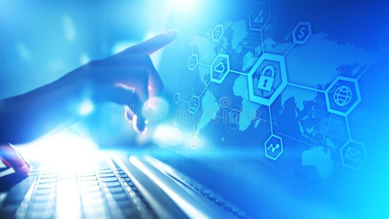 Cybersäkerhet, informationsavskildhet, dataskydd Internet- och teknologibegrepp på den faktiska skärmen fotografering för bildbyråer