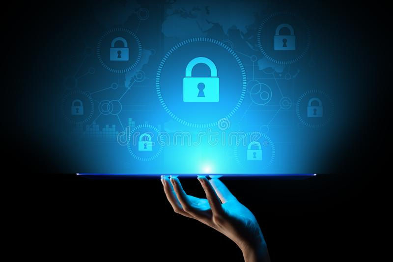 Cybersäkerhet, informationsavskildhet, dataskydd Internet- och teknologibegrepp på den faktiska skärmen arkivfoto
