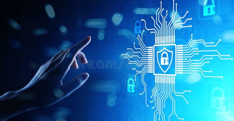 Cybersäkerhet, informationsavskildhet, dataskydd Internet- och teknologibegrepp på den faktiska skärmen royaltyfri illustrationer