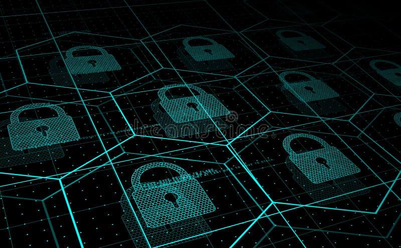 Cybersäkerhet, informationssäkerhet stock illustrationer