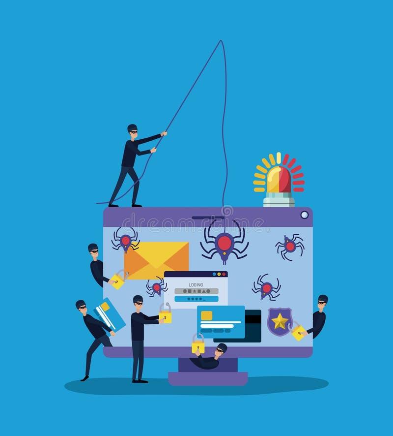 Cybersäkerhet med datoren och en hacker vektor illustrationer
