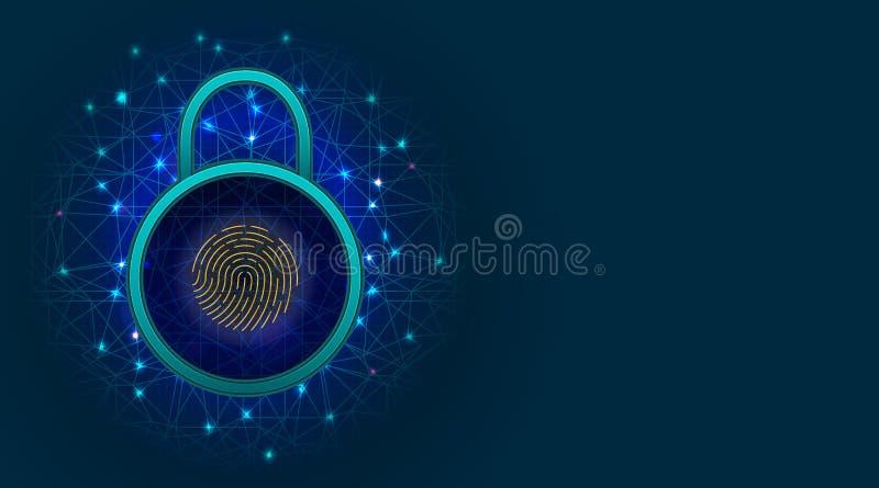 Cybersäkerhet och information eller nätverksskyddsbegrepp med hänglåset och fingeravtryckbildläsaren på abstrakt bakgrund med kop vektor illustrationer