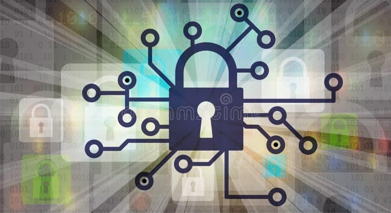 Cybersäkerhet och informations- eller nätverksskydd Teknisk framtid vektor illustrationer