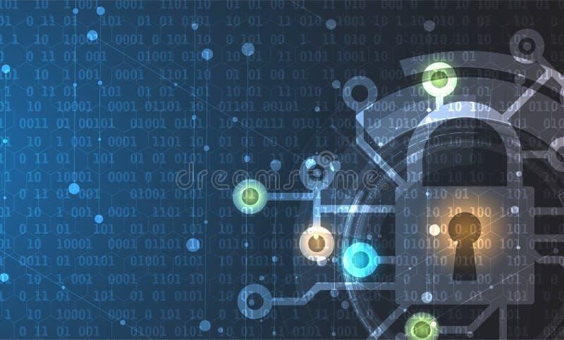 Cybersäkerhet och informations- eller nätverksskydd Teknisk framtid stock illustrationer