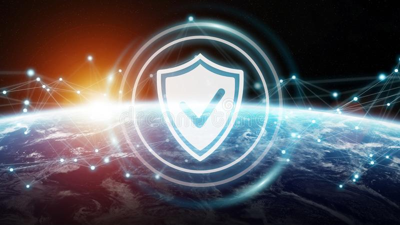 Cybersäkerhet på tolkning för planetjord 3D vektor illustrationer