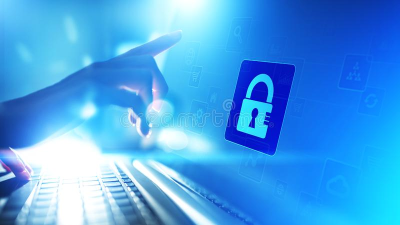 Cybersäkerhet, personligt dataskydd, informationsavskildhet Hänglåssymbol på den faktiska skärmen begrepp isolerad teknologiwhite stock illustrationer