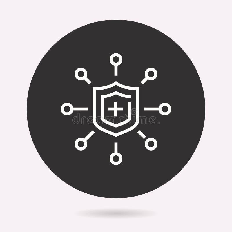 Cybersäkerhet - vektorsymbol Isolerad illustration enkel pictogram royaltyfri illustrationer