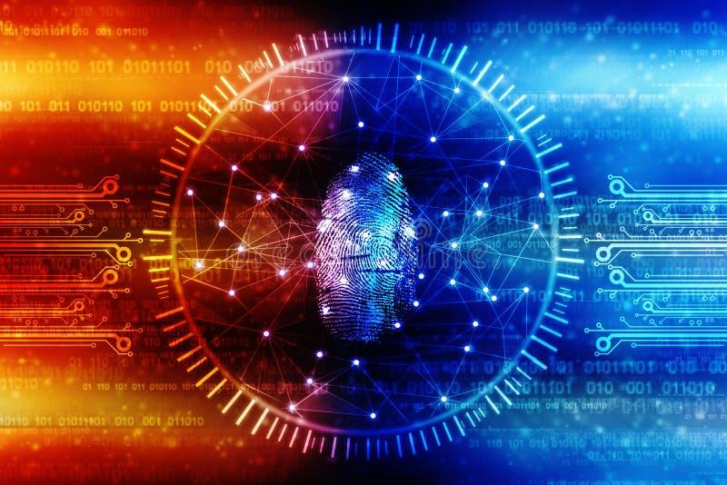 Cybersäkerhetsbegrepp, begrepp av internetsäkerhet, fingeravtryck på digital bakgrund royaltyfri fotografi