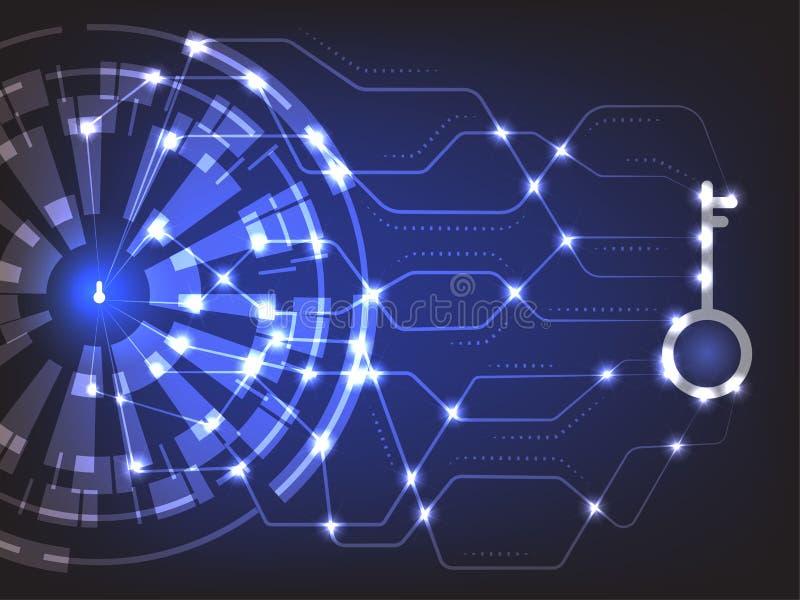 Cybersäkerhetsbegrepp: Keyhold med säkerhetstangent stock illustrationer