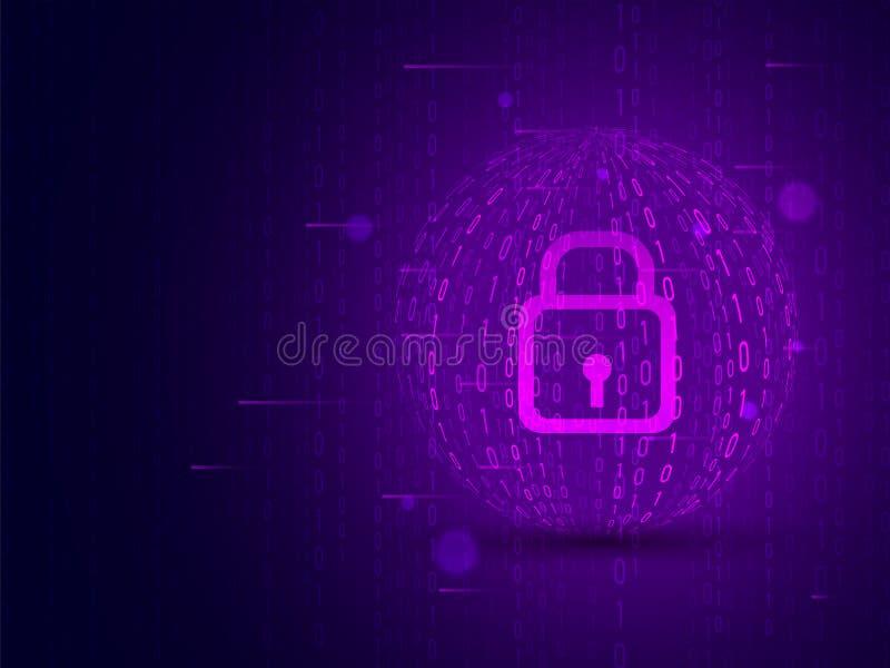 Cybersäkerhetsbegrepp med den stängda hänglåset på den purpurfärgade matrisen som kodifierar bakgrund royaltyfri illustrationer