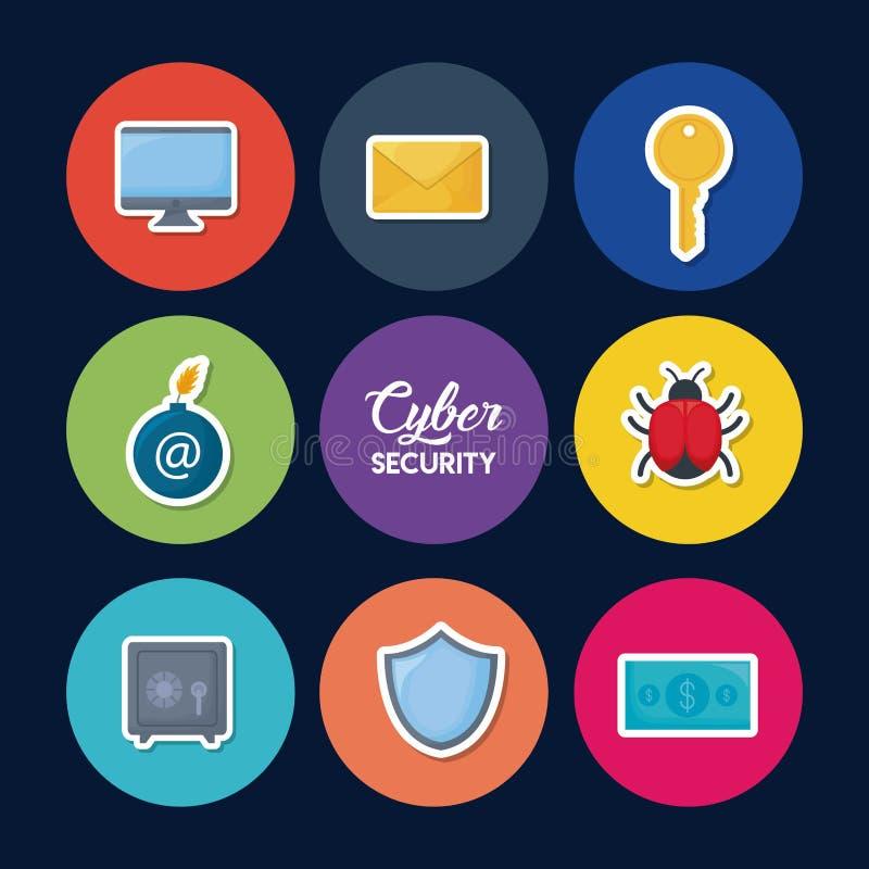 Cybersäkerhetsdesign vektor illustrationer