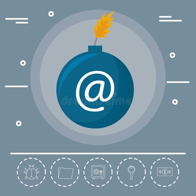 Cybersäkerhetsdesign stock illustrationer