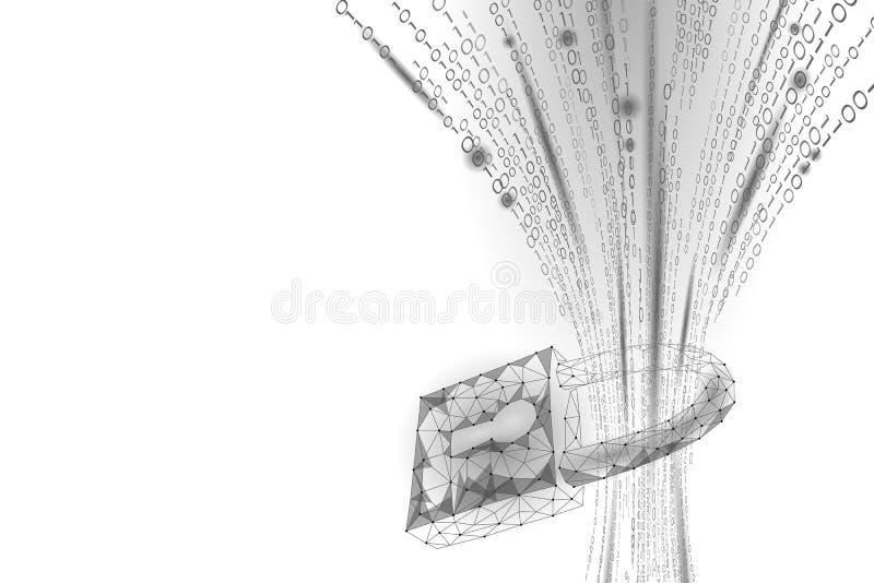 Cybersäkerhetshänglås på datamass Om internetsäkerhetslås för information för avskildhet poly polygonal framtida innovation lågt royaltyfri illustrationer