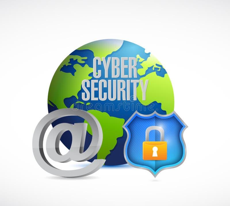 cybersäkerhetsjordklot och sköld royaltyfri bild