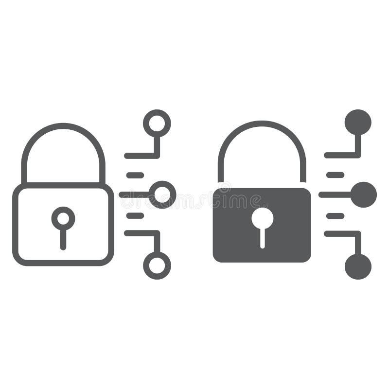 Cybersäkerhetslinje och skårasymbol, skydd royaltyfri illustrationer