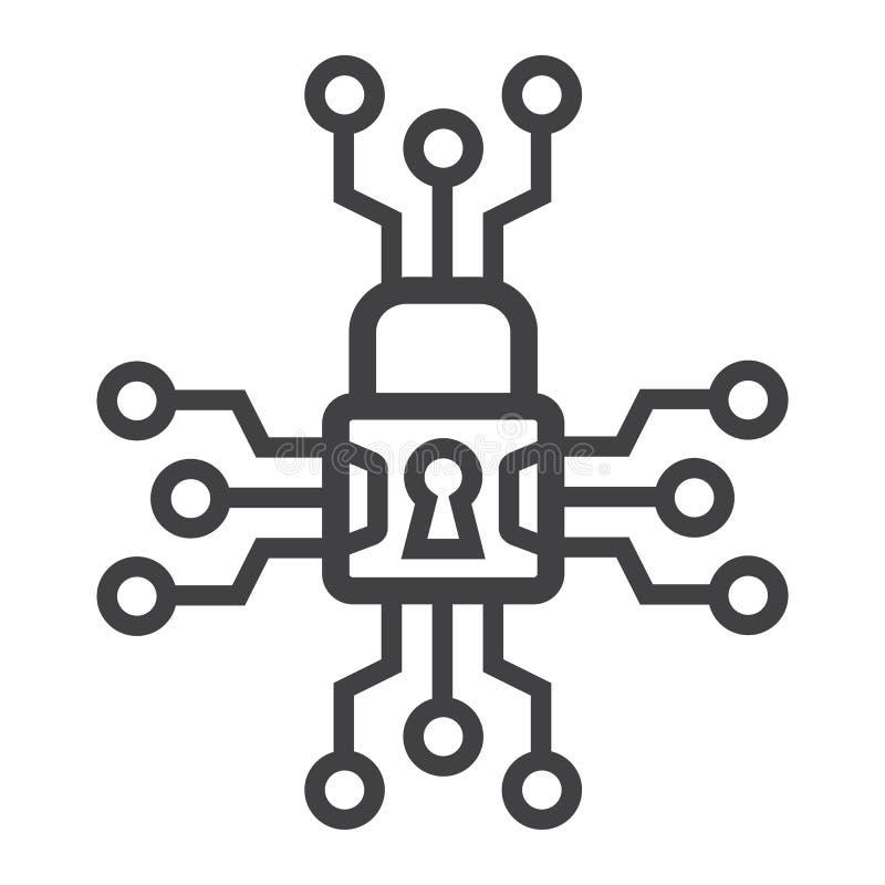 Cybersäkerhetslinje symbol, hänglås och säkerhet stock illustrationer