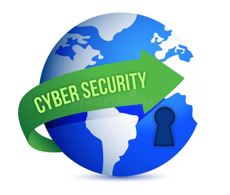 Cybersäkerhetspilen med låser på jordklotet royaltyfri illustrationer