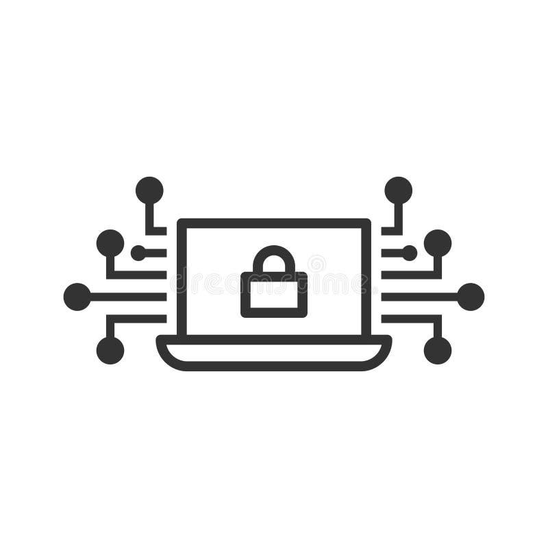 Cybersäkerhetssymbol i plan stil Låst vektorillustration för hänglås på vit isolerad bakgrund Bärbar datoraffärsidé stock illustrationer