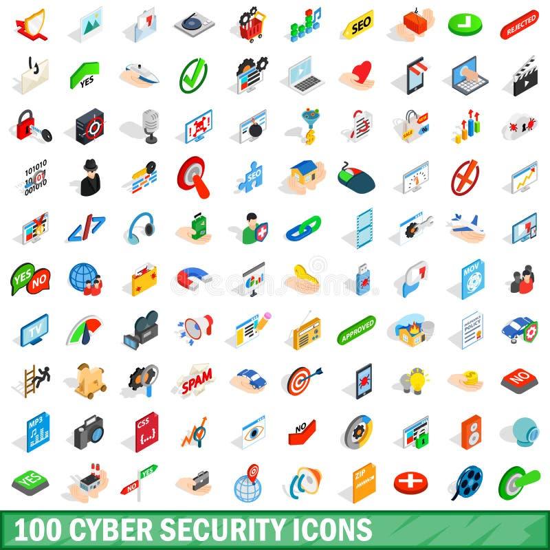 100 cybersäkerhetssymboler ställde in, isometrisk stil 3d vektor illustrationer