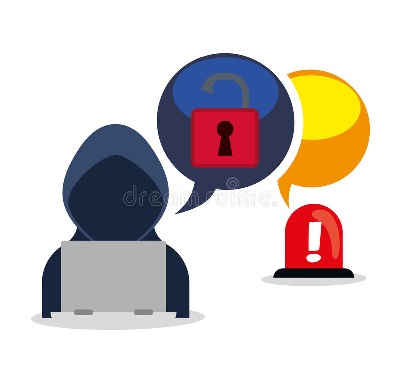 Cybersäkerhetssystem och massmediadesign vektor illustrationer