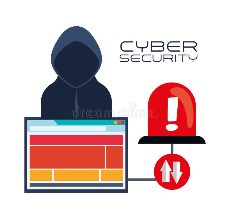 Cybersäkerhetssystem och massmediadesign stock illustrationer