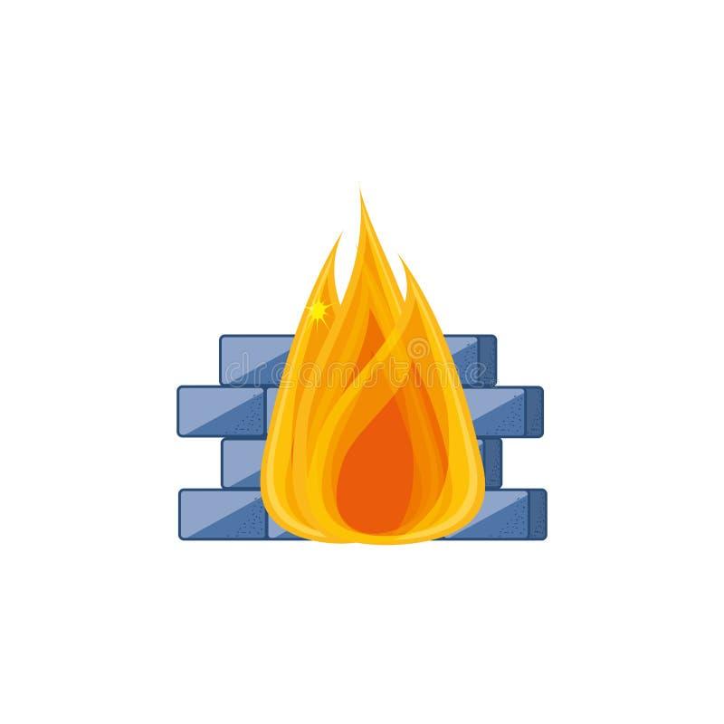 Cybersäkerhetsvägg med brand vektor illustrationer