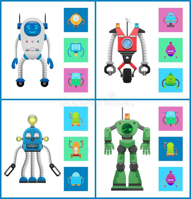 Cybers Collection Robots, Vector Illustration royalty free illustration