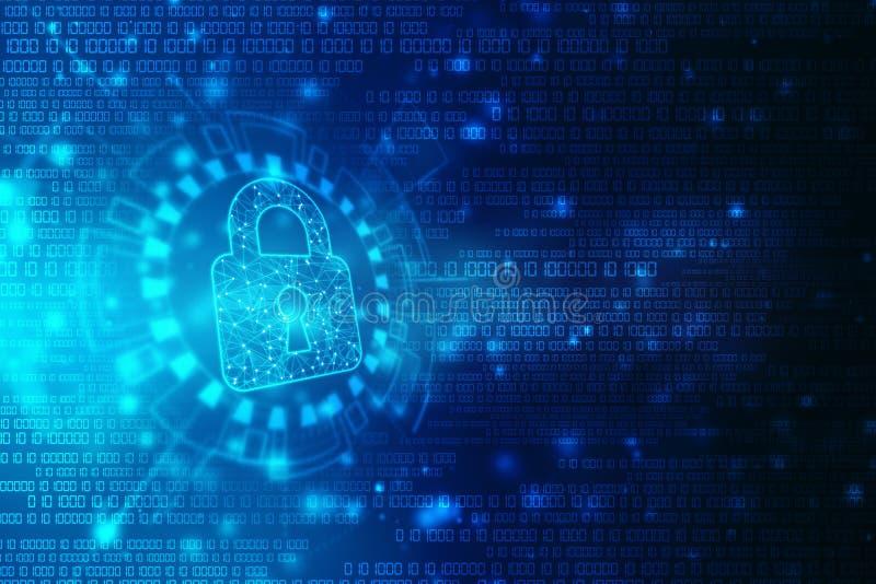 Cybers?kerhet och informations- eller n?tverksskydd Framtida cyberteknologi Lås på den digitala skärmen stock illustrationer