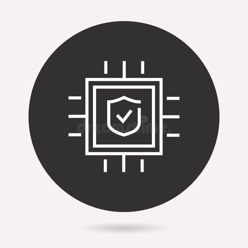 Cybers?kerhet - vektorsymbol Isolerad illustration enkel pictogram royaltyfri illustrationer
