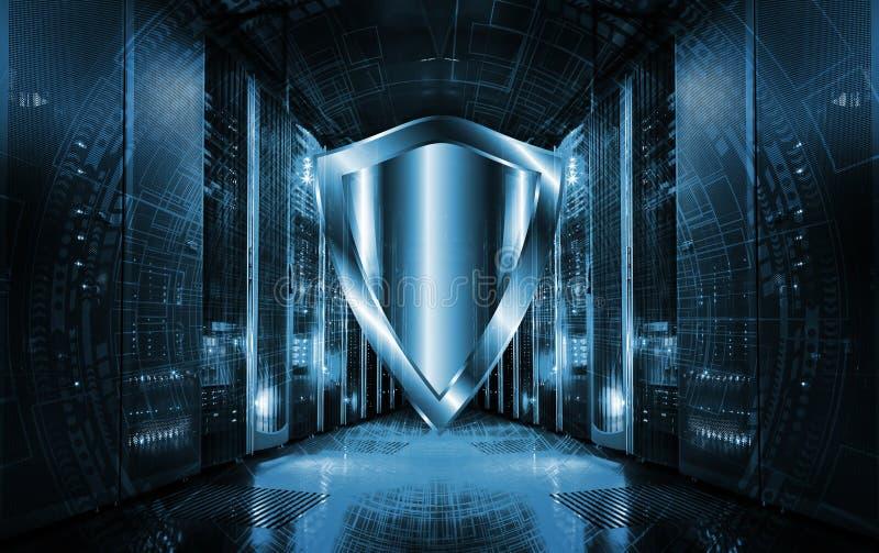 Cyberschutz-Schildikone auf Serverraumhintergrund Informationssicherheit und Virusentdeckung vektor abbildung
