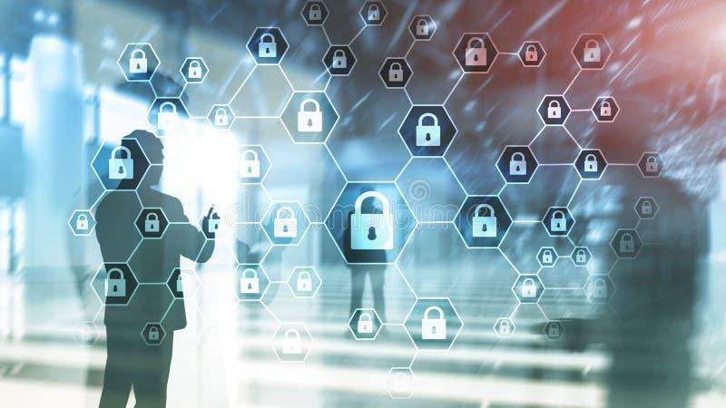 Cybersecurity,信息保密性、数据保护、病毒和间谍软件防御 库存例证