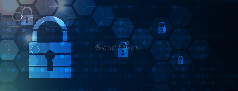 Cybersecurity和信息或网络保护 事务和互联网的未来技术网站服务射出 库存例证