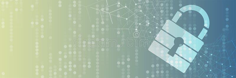 Cybersecurity和信息或网络保护 事务和互联网的未来技术网站服务射出 向量例证