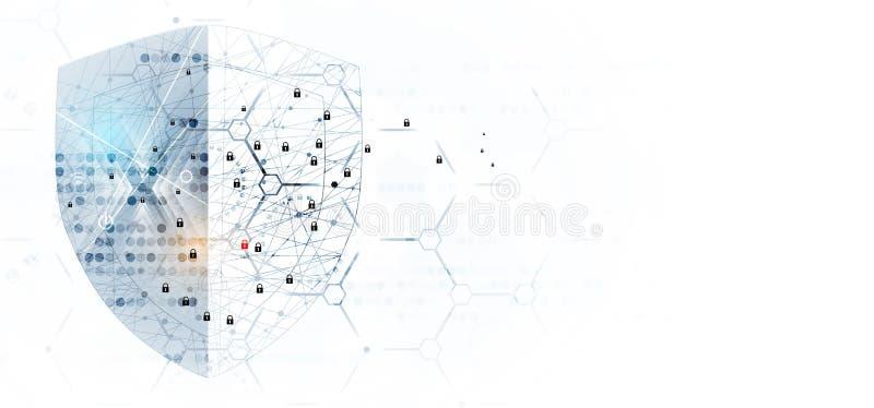 Cybersecurity和信息或网络保护 将来的技术 向量例证