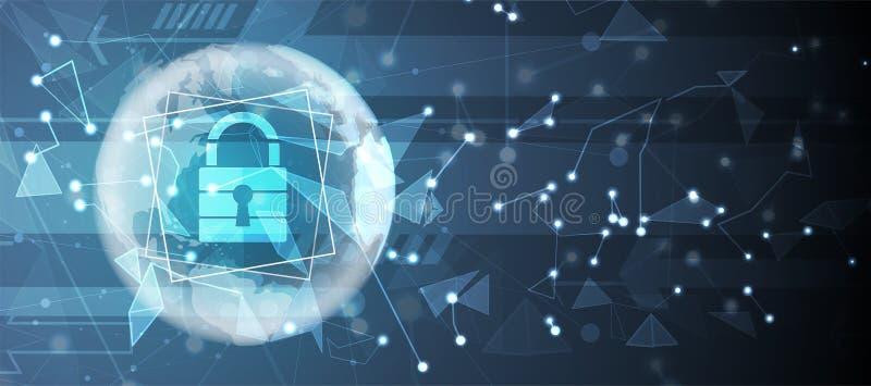 Cybersecurity和信息或网络保护 将来的技术 库存例证