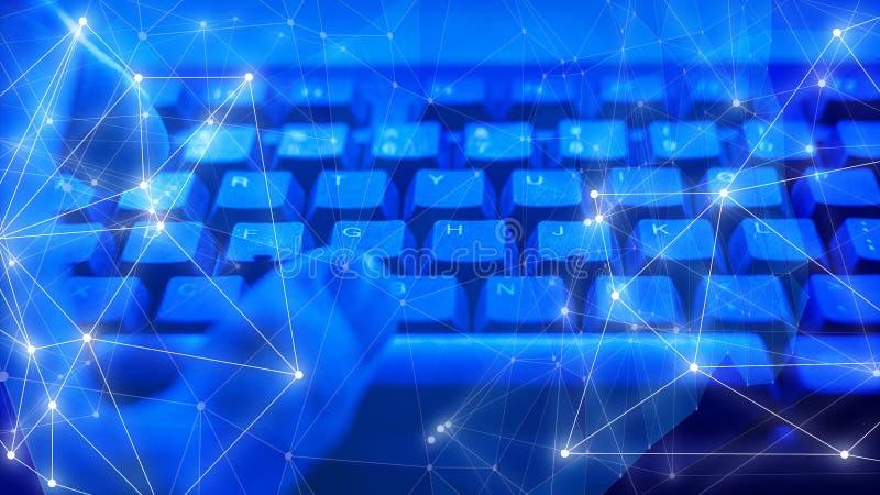 Cybersecurity威胁、人工智能网络小点和线连接 库存图片