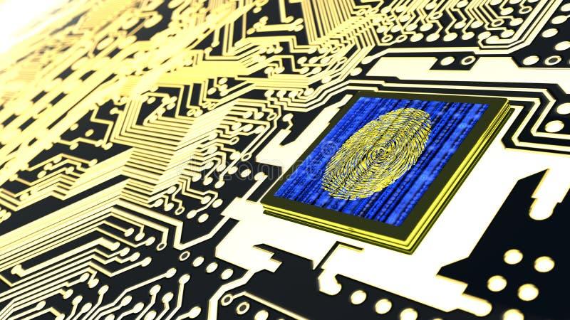 Cybersecurity概念电路板指纹传感器 皇族释放例证