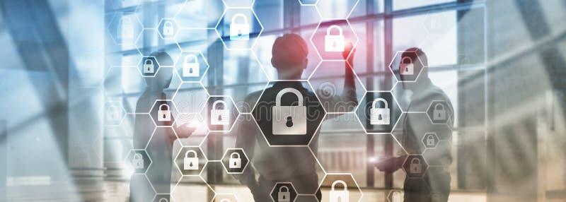 Cybersecurity,信息保密性、数据保护、病毒和间谍软件防御 皇族释放例证