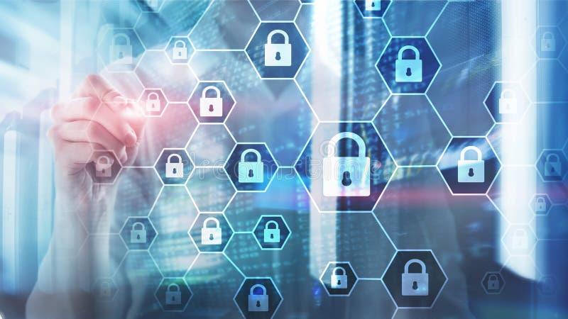 Cybersecurity, ιδιωτικότητα πληροφοριών, προστασία δεδομένων, ιός και spyware υπεράσπιση στοκ εικόνες με δικαίωμα ελεύθερης χρήσης
