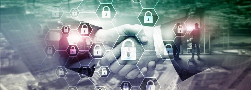 Cybersecurity, ιδιωτικότητα πληροφοριών, προστασία δεδομένων, ιός και spyware υπεράσπιση στοκ φωτογραφίες