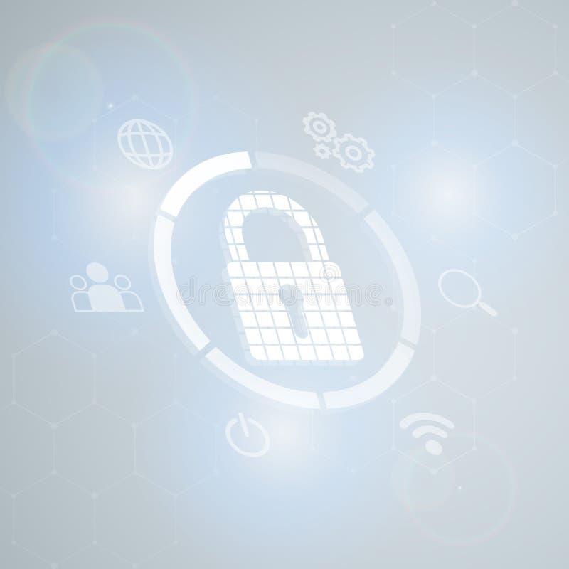 Cybersecurity и информационная сеть protection-2 иллюстрация штока