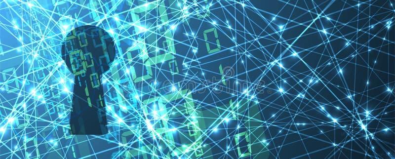 Cybersecurity и предохранение от информации или сети будущий техник иллюстрация вектора