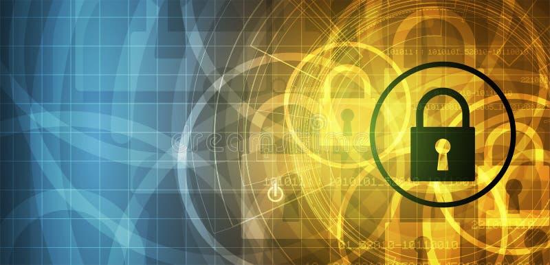 Cybersecurity и предохранение от информации или сети будущий техник иллюстрация штока
