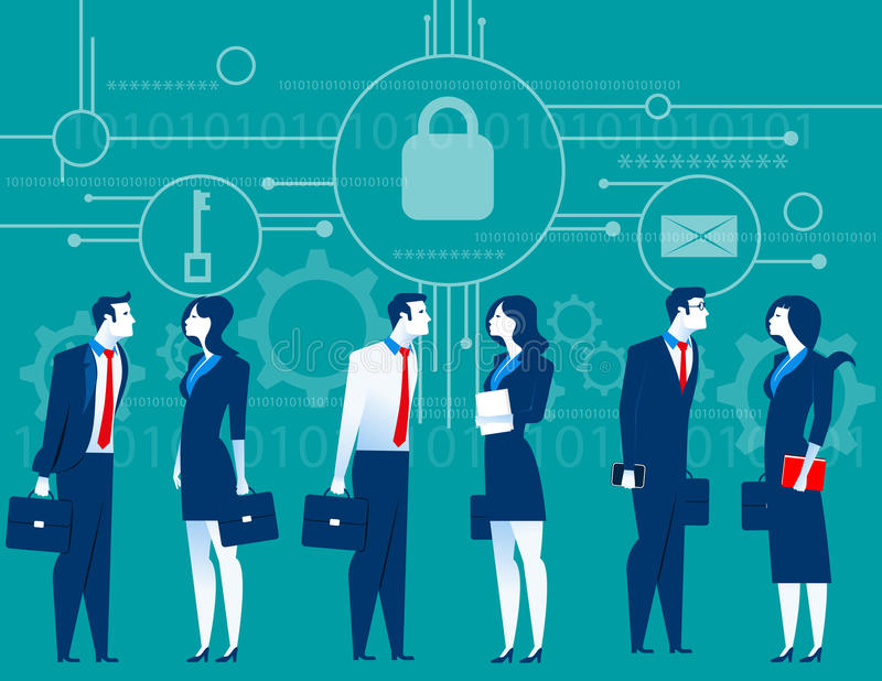 CyberSecurity 业务会议安全 概念企业illus 向量例证