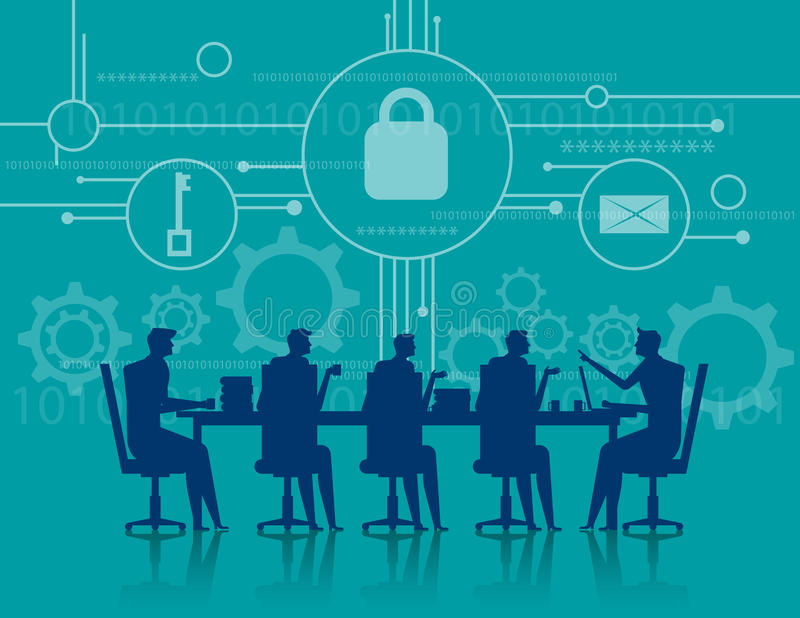 Cybersecurity. Business meeting security. Concept business illus stock image
